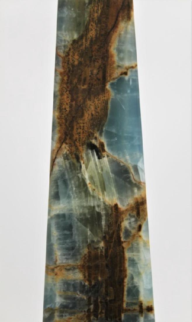 Blue & Sepia Marble Obelisk Sculpture - 6