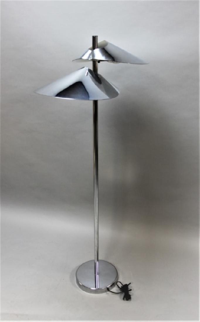 Curtis Jere Chrome Floor Lamp w 2 Hooded Lites