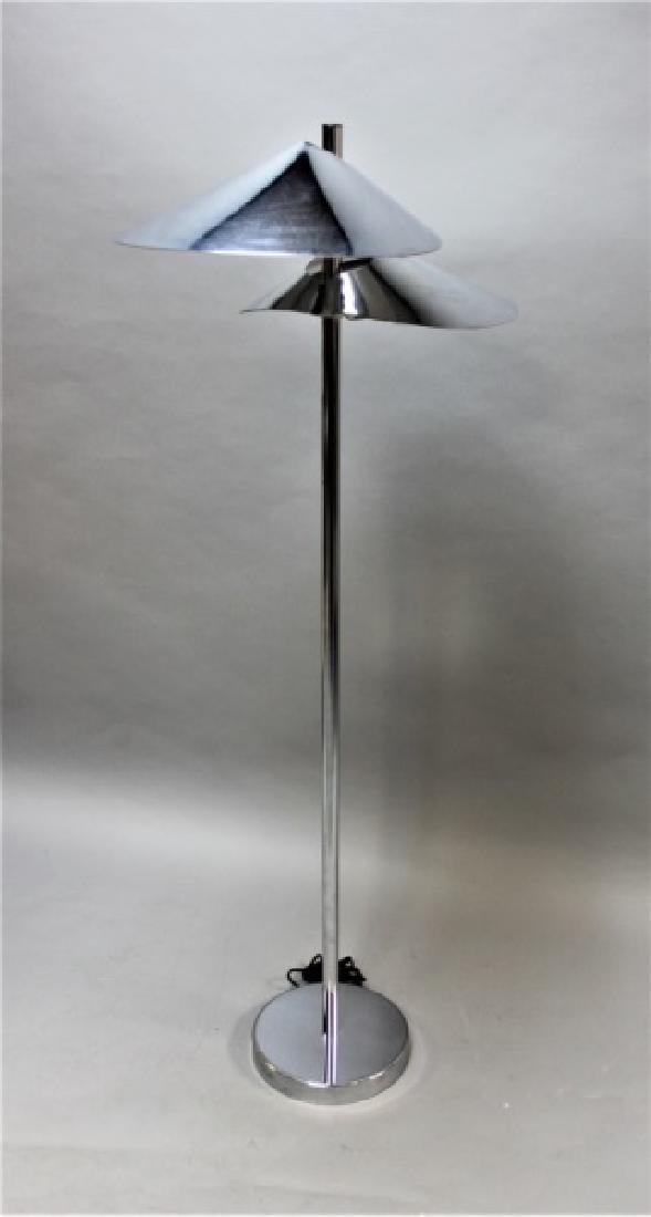 Curtis Jere Chrome Floor Lamp w 2 Hooded Lites - 2