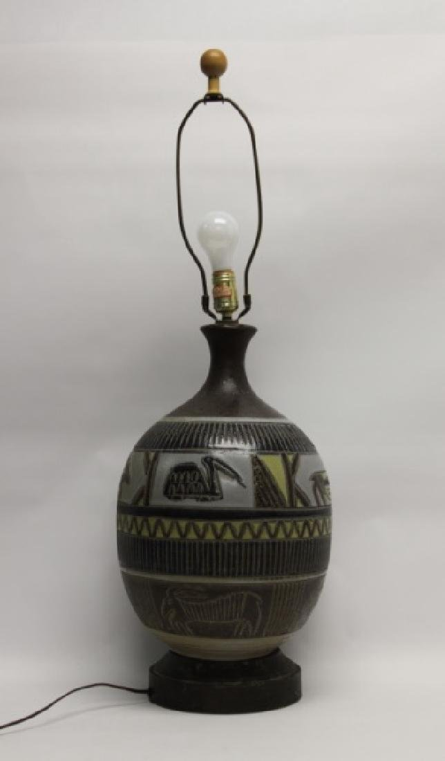 MCM Glazed Pottery Lamp Tribal Design w Animals