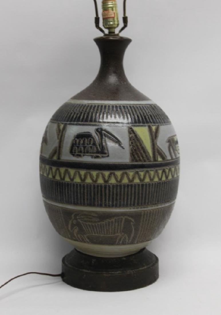 MCM Glazed Pottery Lamp Tribal Design w Animals - 2