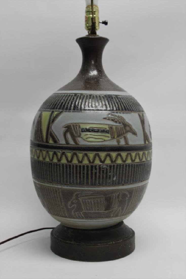 MCM Glazed Pottery Lamp Tribal Design w Animals - 3