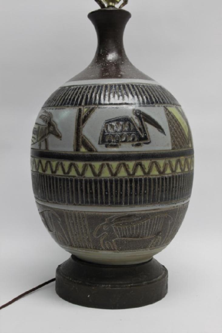 MCM Glazed Pottery Lamp Tribal Design w Animals - 4