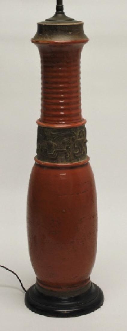 Chinese Burnt Orange Vase Form Pottery Lamp - 2