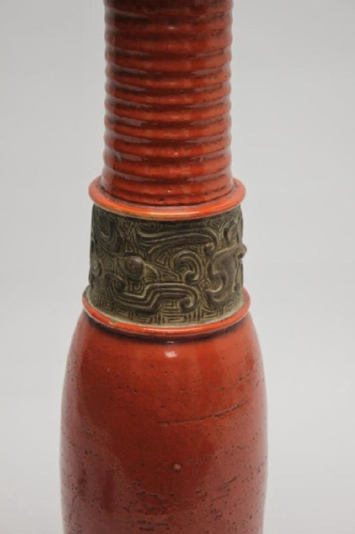 Chinese Burnt Orange Vase Form Pottery Lamp - 3