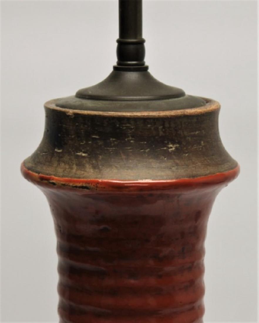 Chinese Burnt Orange Vase Form Pottery Lamp - 4