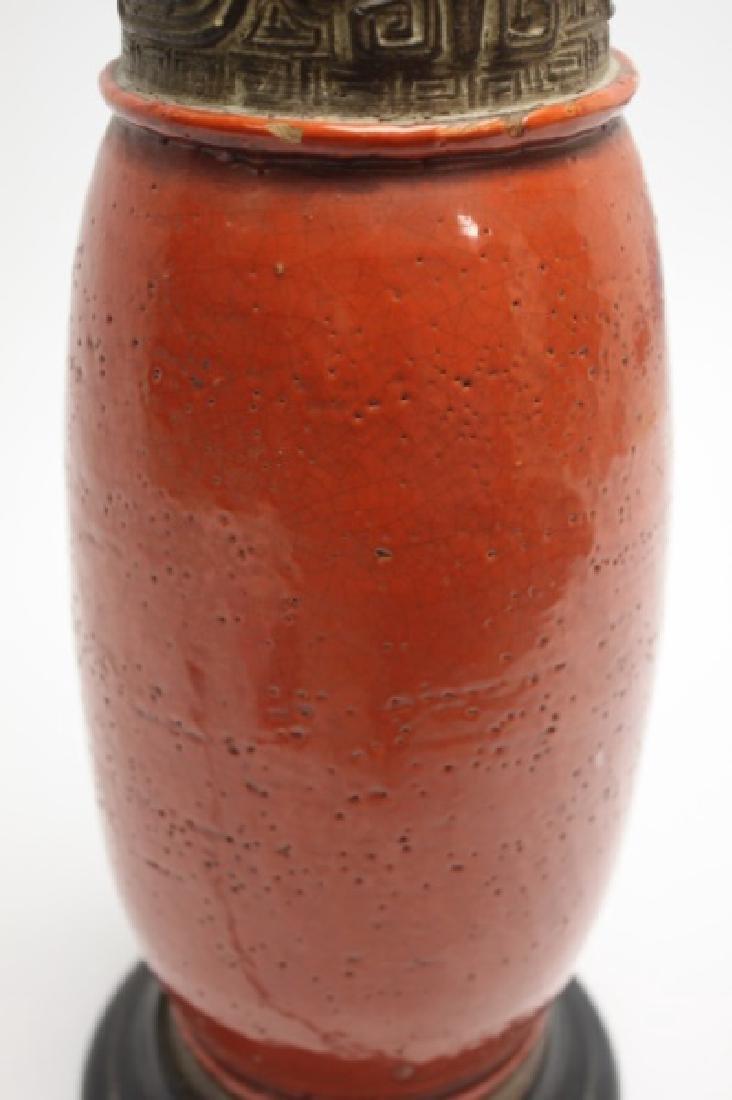 Chinese Burnt Orange Vase Form Pottery Lamp - 7