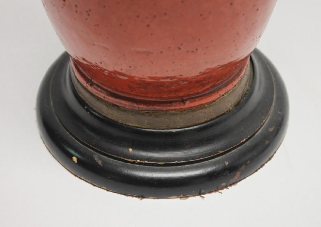 Chinese Burnt Orange Vase Form Pottery Lamp - 8