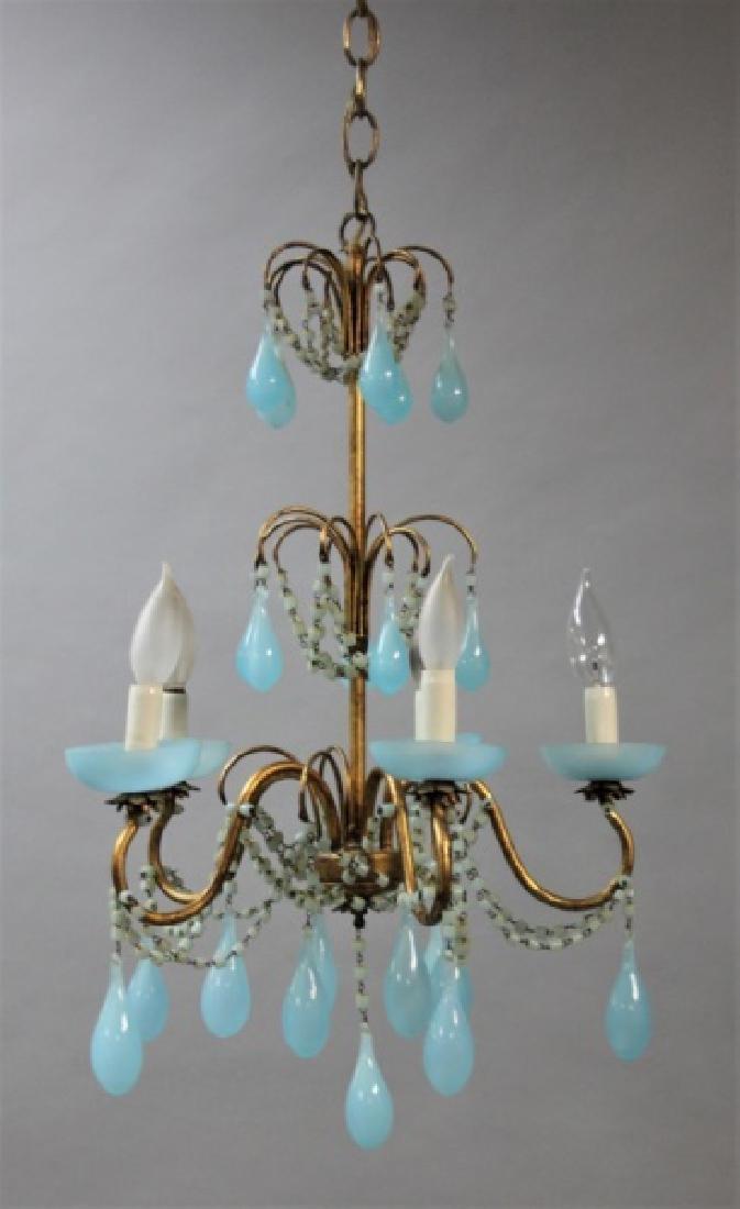 Vintage Italian Blue Opaline Glass Chandelier - 2