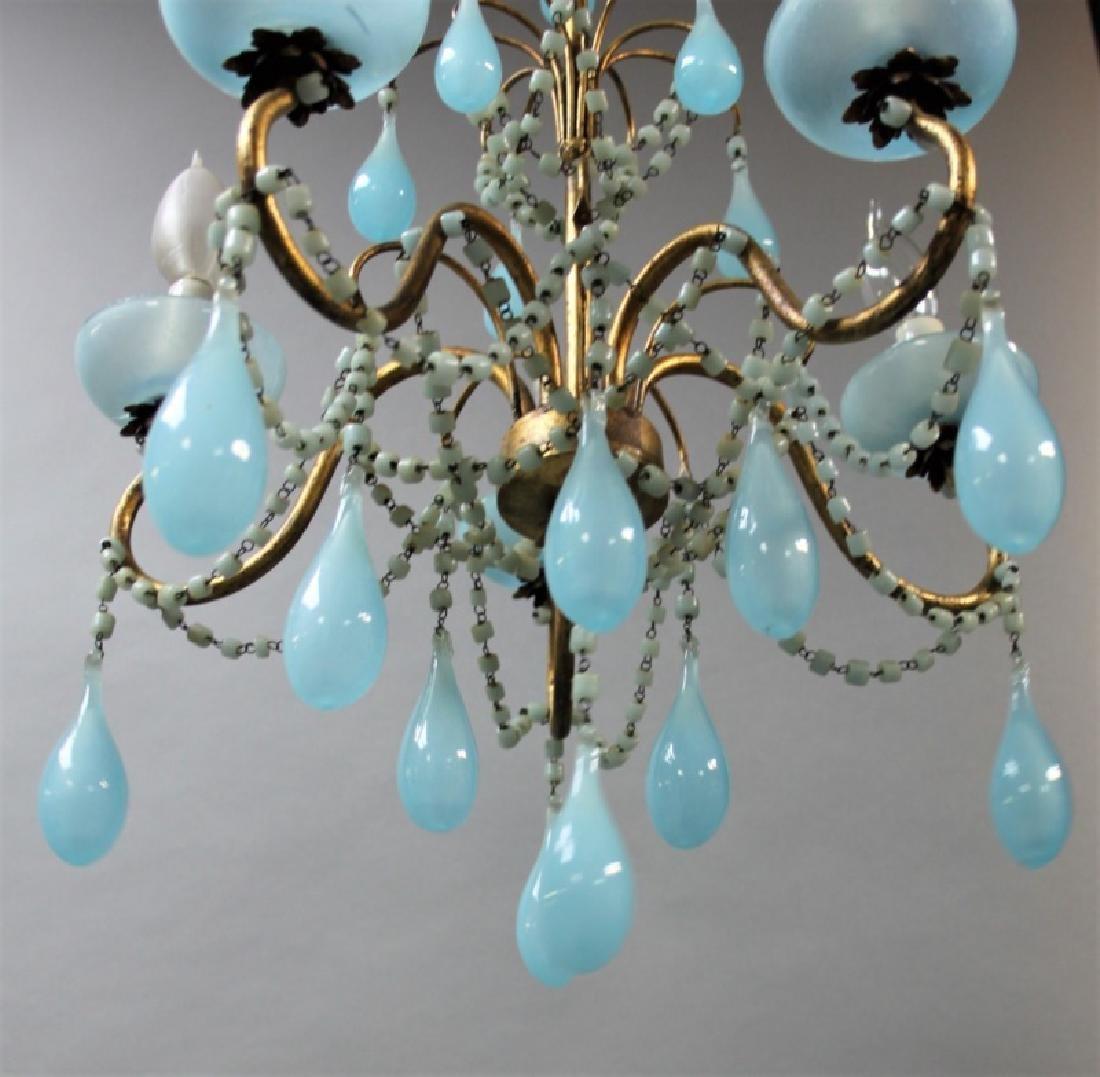 Vintage Italian Blue Opaline Glass Chandelier - 3