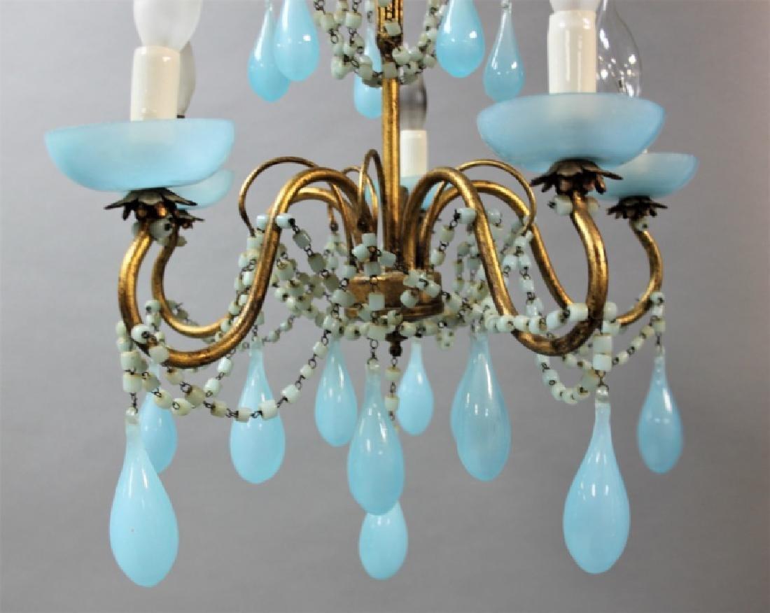 Vintage Italian Blue Opaline Glass Chandelier - 4