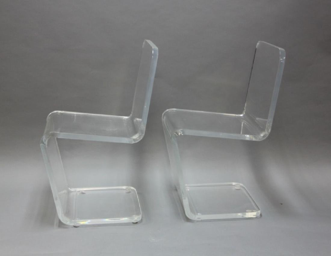 """Pair MCM Adrian Pearsall """"Z"""" Form Lucite Chairs"""