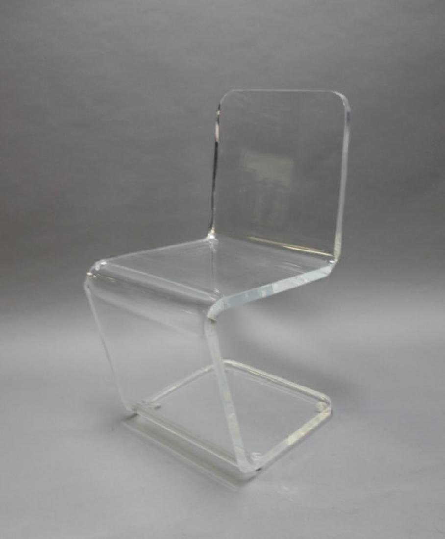 """Pair MCM Adrian Pearsall """"Z"""" Form Lucite Chairs - 3"""