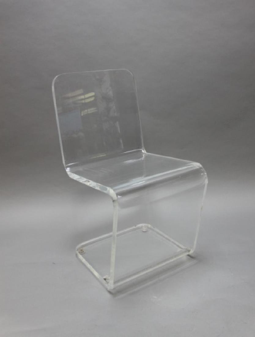 """Pair MCM Adrian Pearsall """"Z"""" Form Lucite Chairs - 5"""