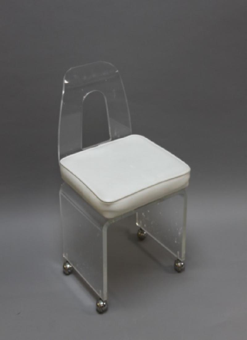 MCM Vintage Lucite Vanity Swivel Chair on Casters - 2