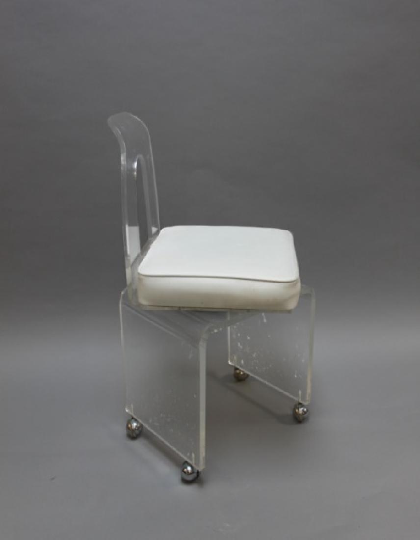 MCM Vintage Lucite Vanity Swivel Chair on Casters - 3