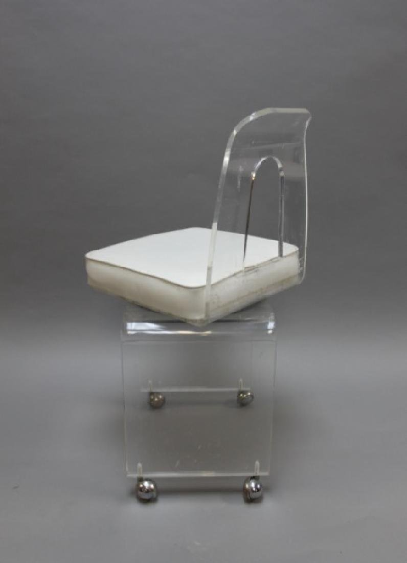 MCM Vintage Lucite Vanity Swivel Chair on Casters - 5