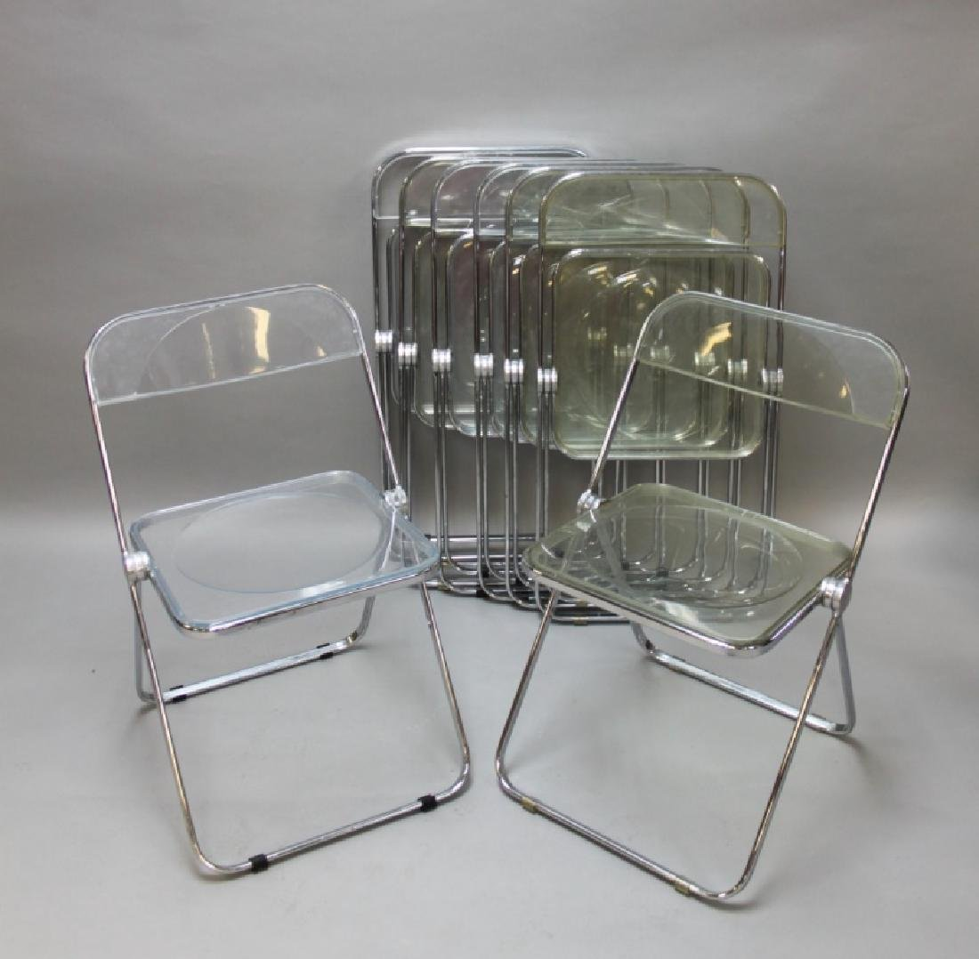 (8) MCM Castelli Lucite & Chrome Folding Chairs