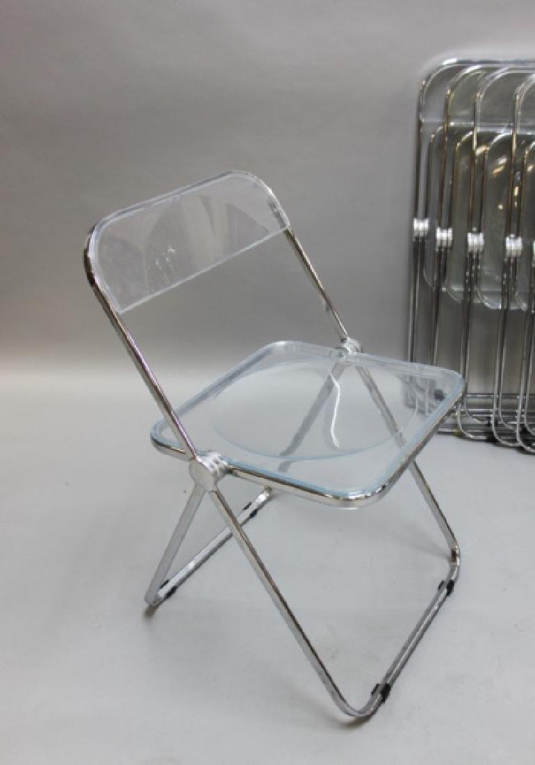 (8) MCM Castelli Lucite & Chrome Folding Chairs - 2