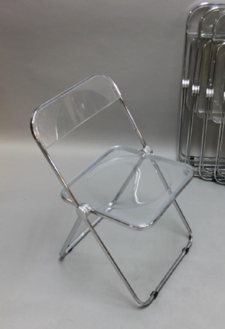 (8) MCM Castelli Lucite & Chrome Folding Chairs - 3