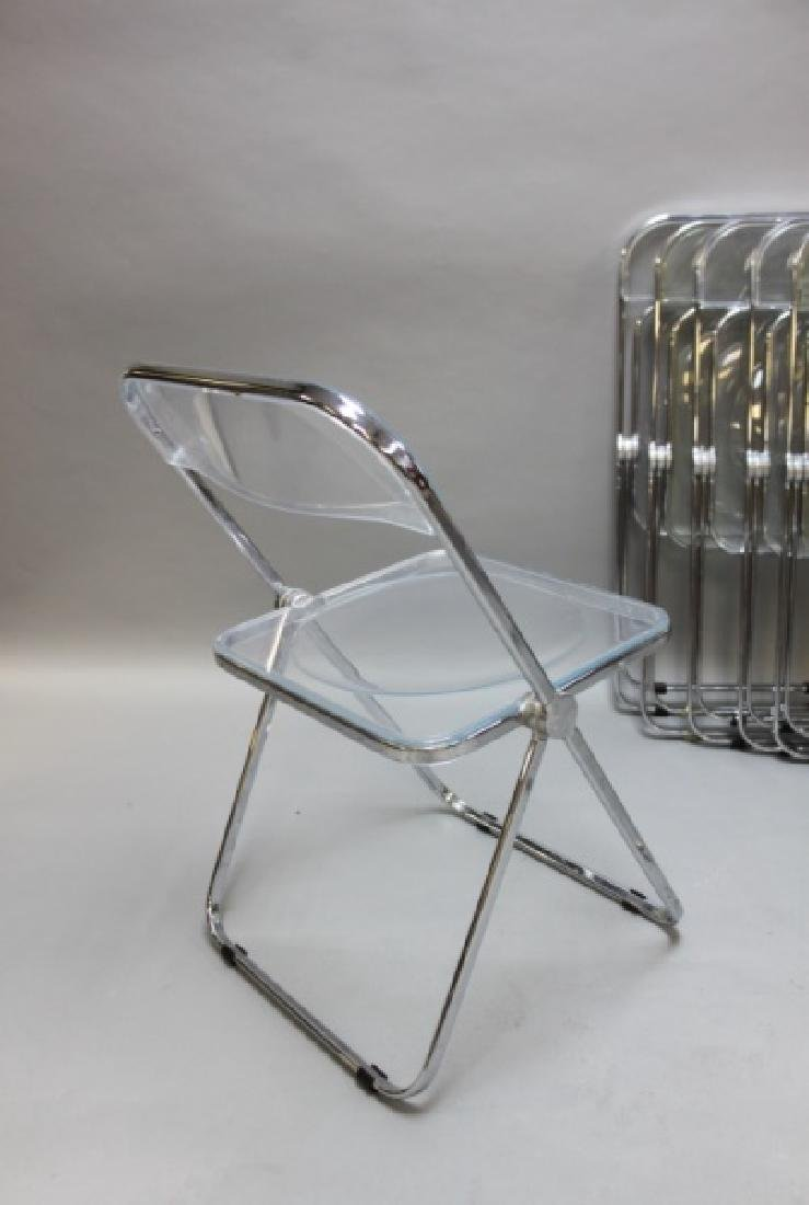 (8) MCM Castelli Lucite & Chrome Folding Chairs - 4
