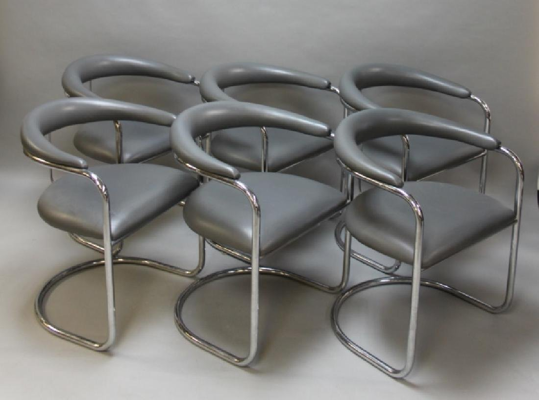 (6) MCM Thonet Gray Leather & Chrome Dining Chairs
