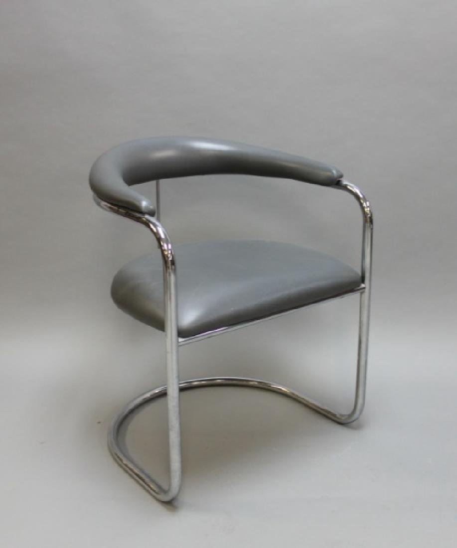 (6) MCM Thonet Gray Leather & Chrome Dining Chairs - 2