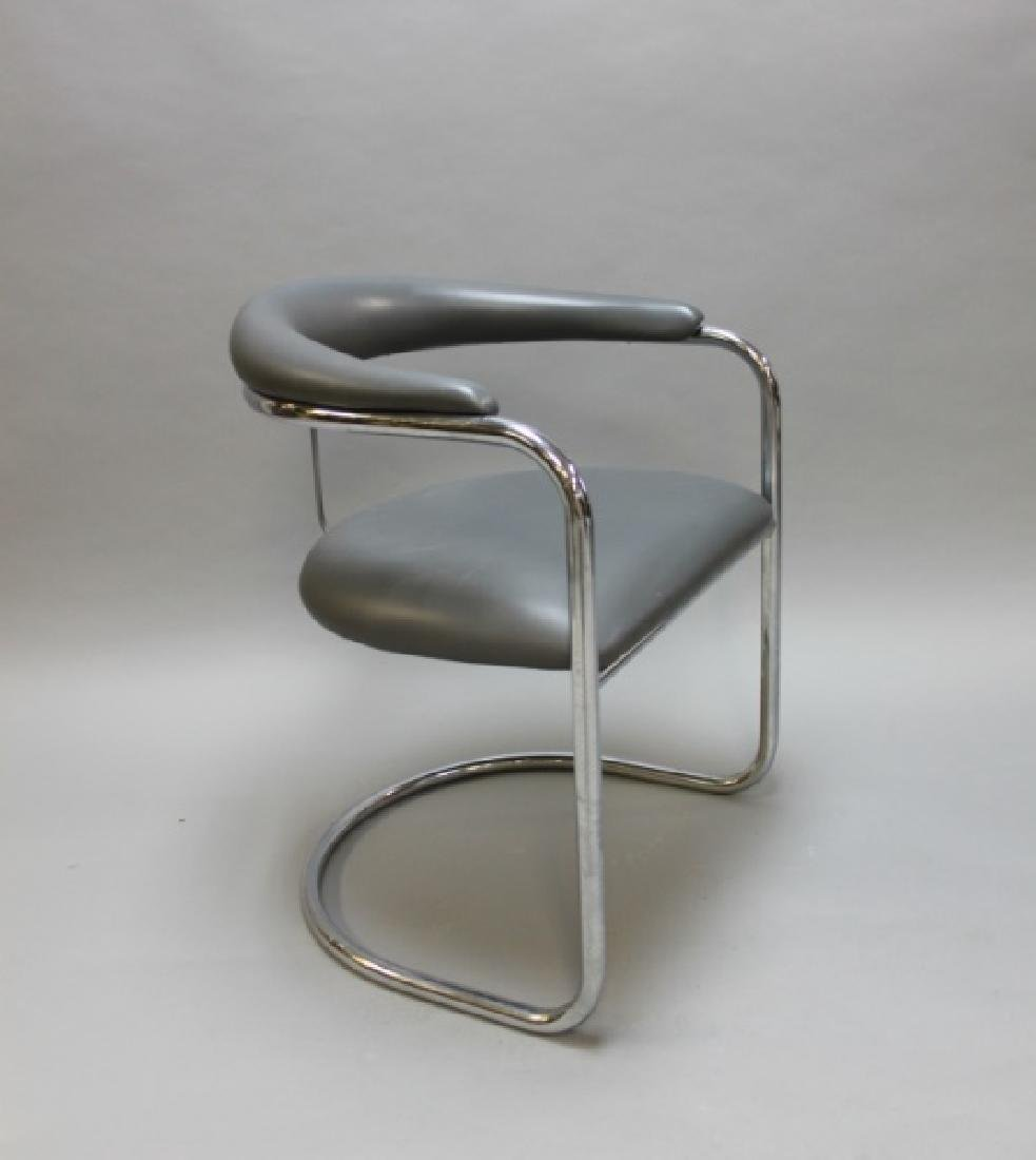 (6) MCM Thonet Gray Leather & Chrome Dining Chairs - 3