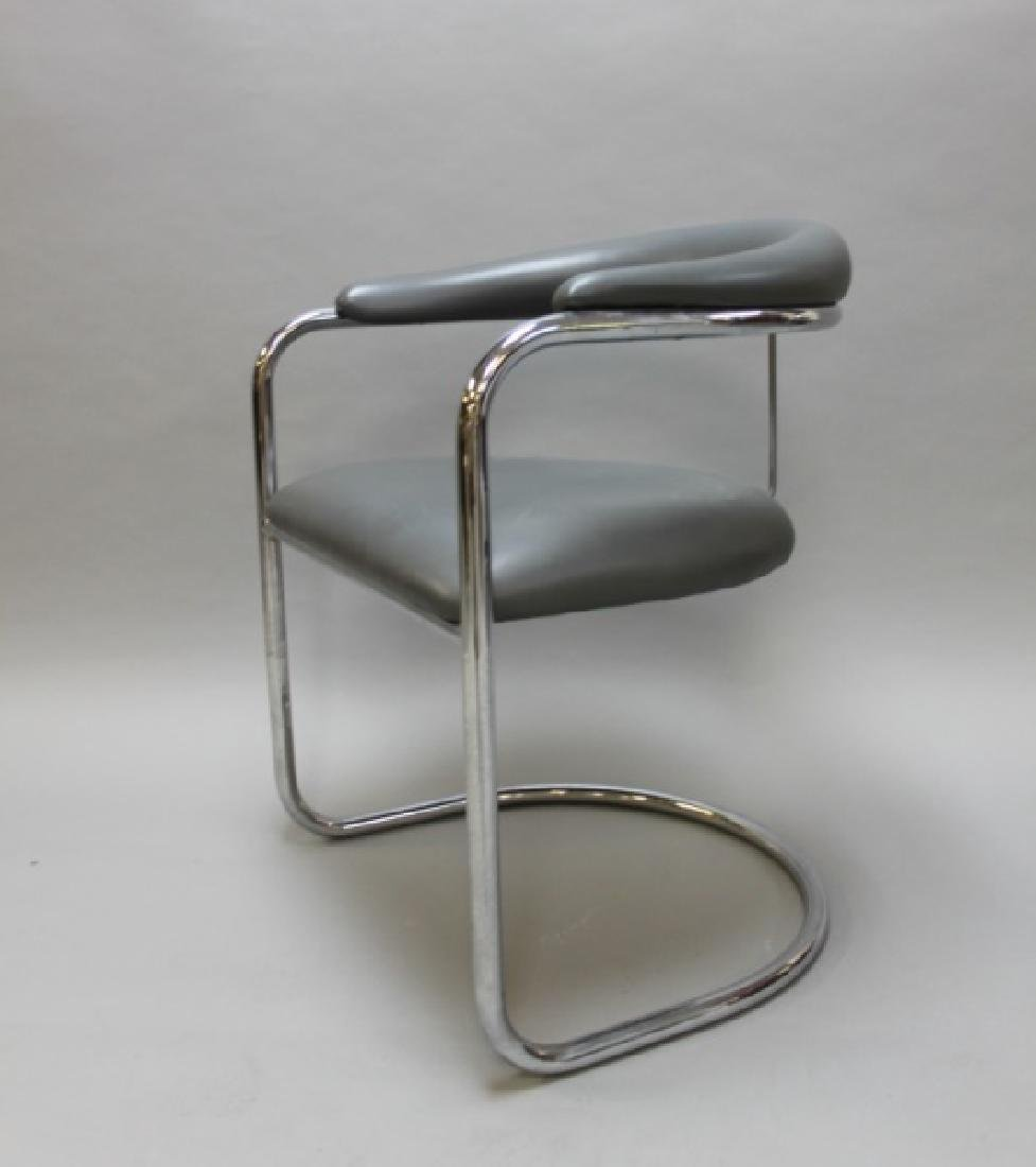 (6) MCM Thonet Gray Leather & Chrome Dining Chairs - 4