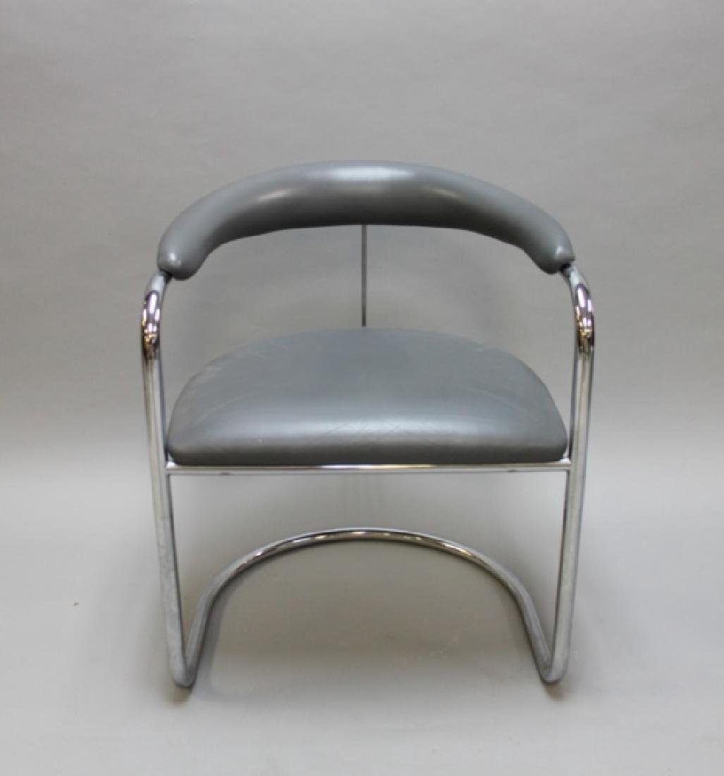 (6) MCM Thonet Gray Leather & Chrome Dining Chairs - 5