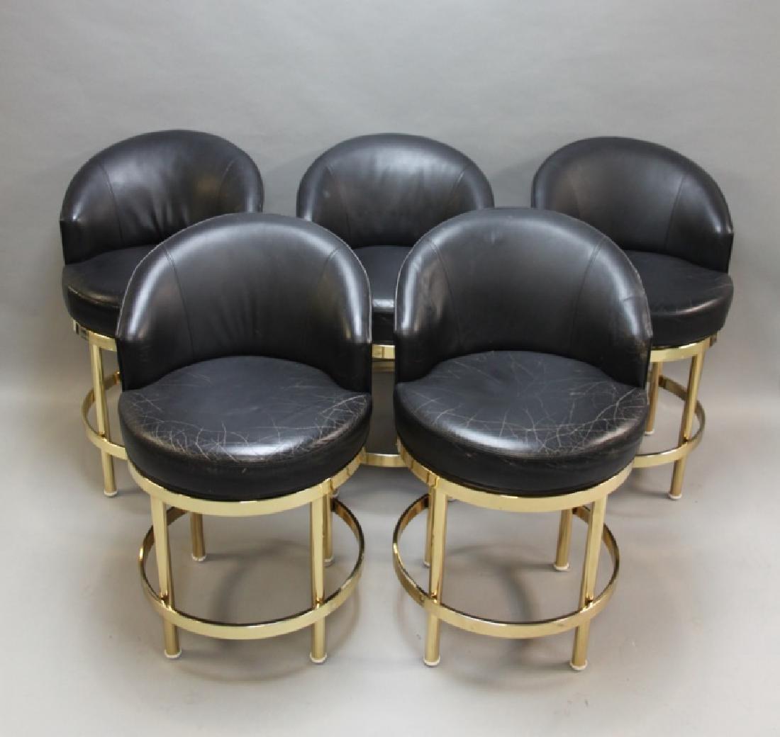 (5) Polished Brass & Black Leather Barstools