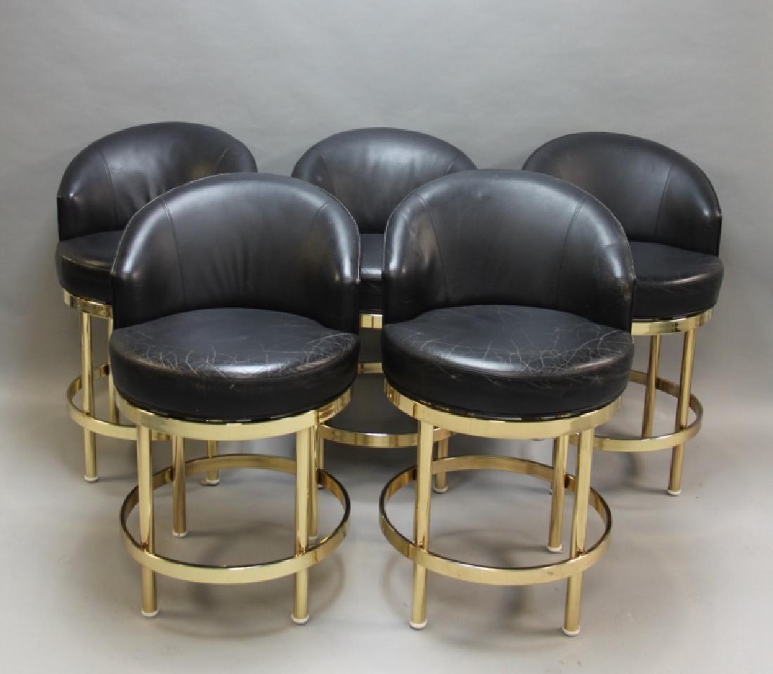 (5) Polished Brass & Black Leather Barstools - 2