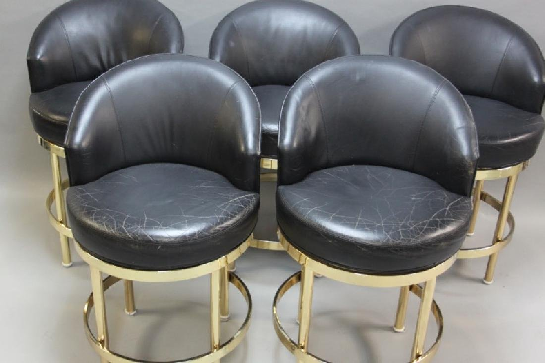 (5) Polished Brass & Black Leather Barstools - 3