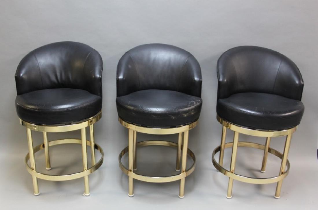 (5) Polished Brass & Black Leather Barstools - 4