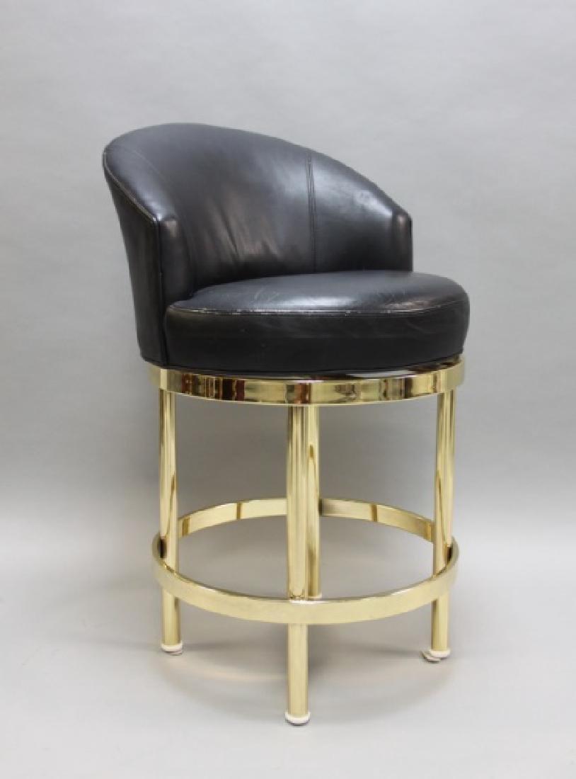 (5) Polished Brass & Black Leather Barstools - 5