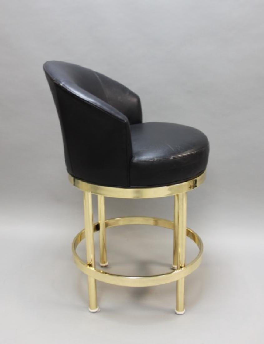 (5) Polished Brass & Black Leather Barstools - 6