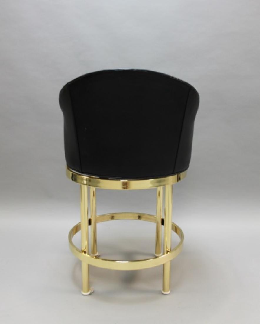(5) Polished Brass & Black Leather Barstools - 7
