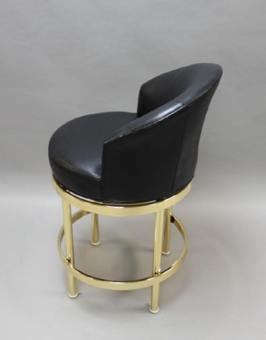 (5) Polished Brass & Black Leather Barstools - 8