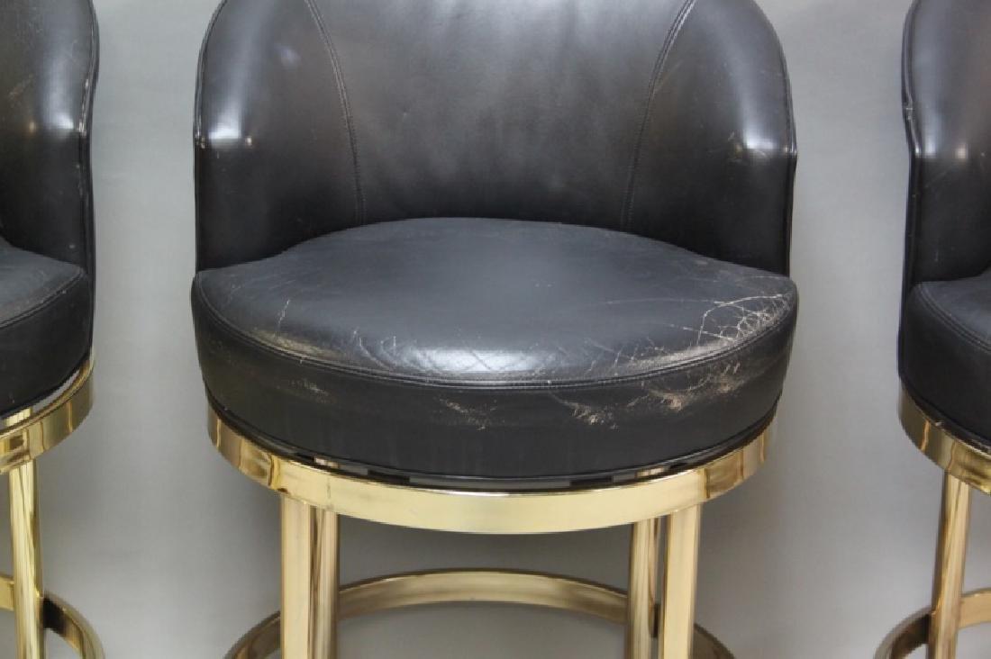 (5) Polished Brass & Black Leather Barstools - 9