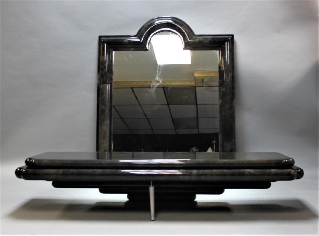 80's Karl Springer Goatskin Console Table & Mirror