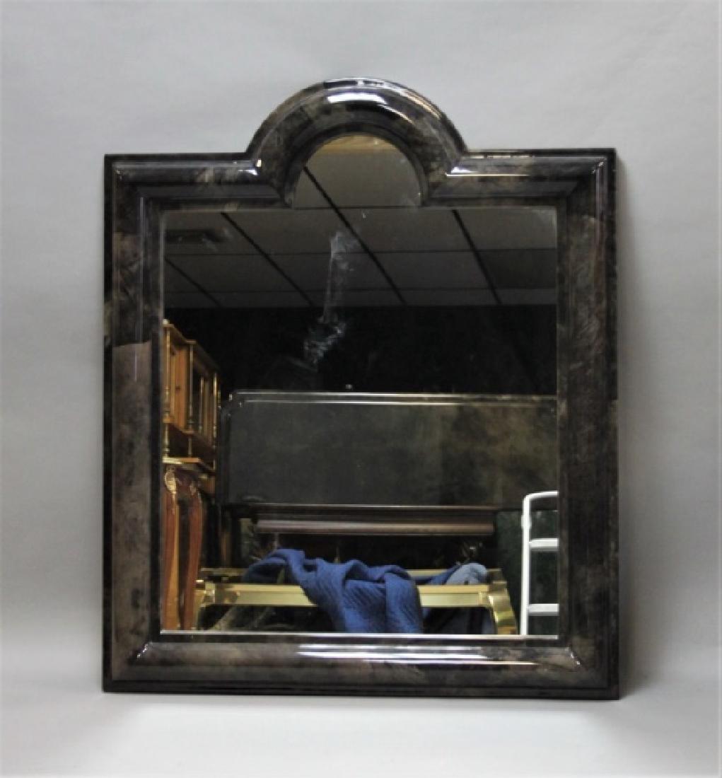 80's Karl Springer Goatskin Console Table & Mirror - 3