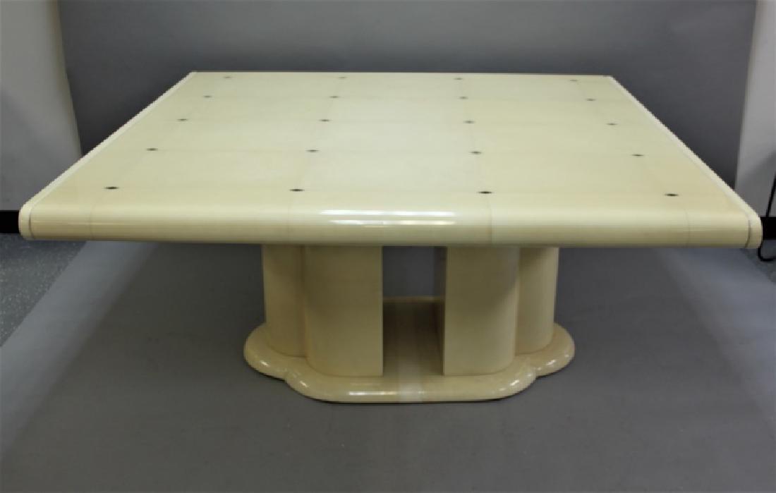 80's Karl Springer Goatskin Pedestal Dining Table