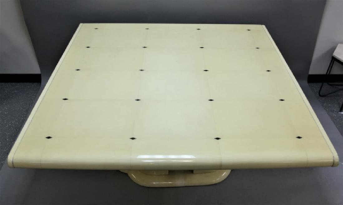 80's Karl Springer Goatskin Pedestal Dining Table - 3