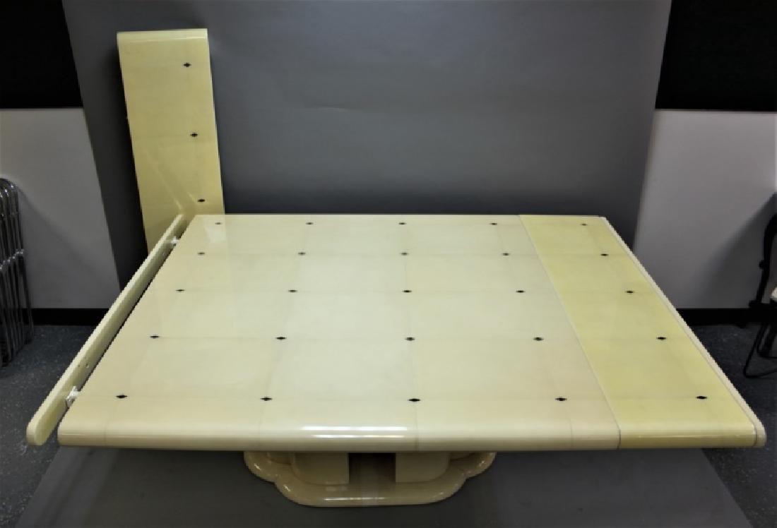 80's Karl Springer Goatskin Pedestal Dining Table - 4
