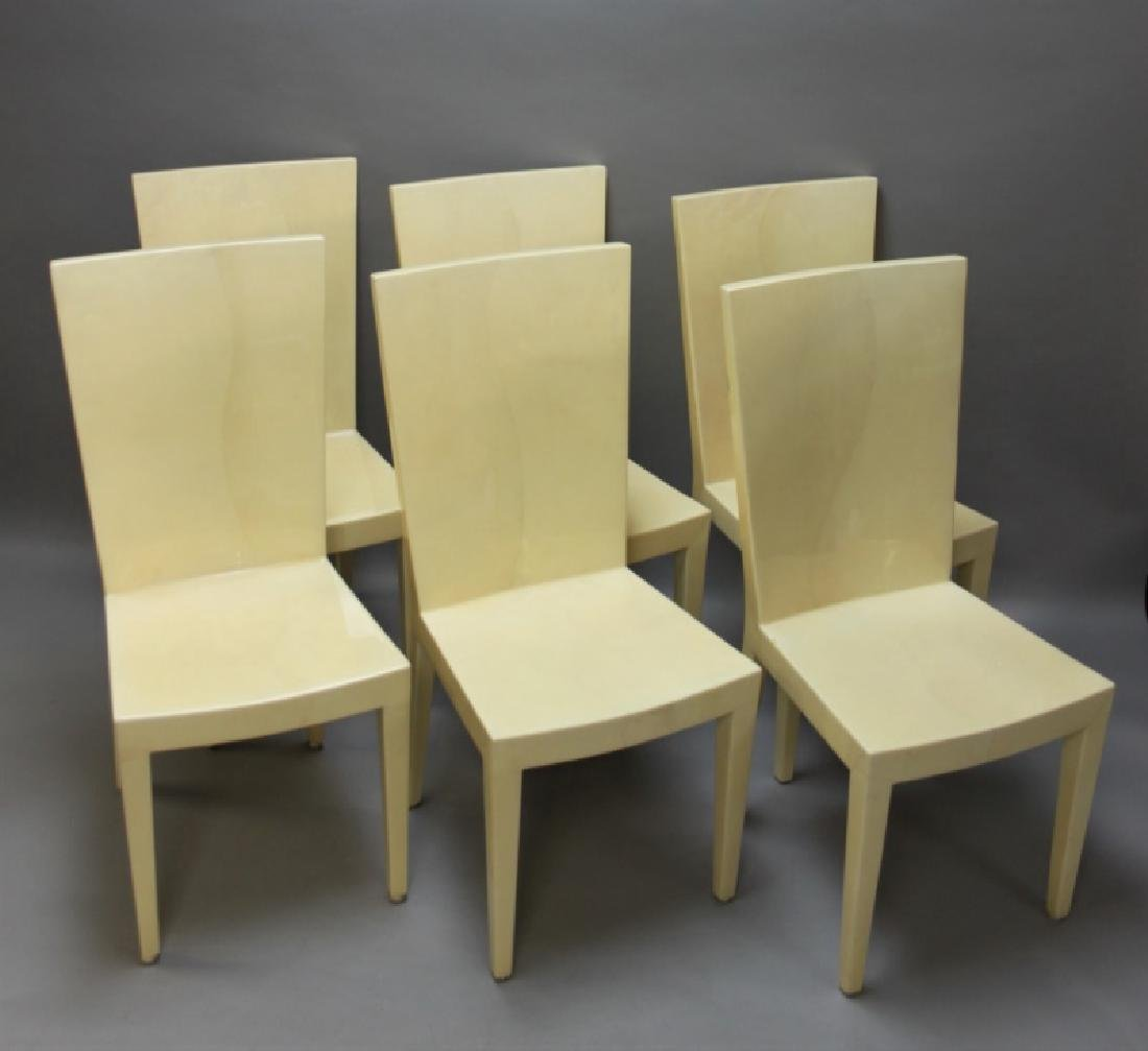 "(6) Karl Springer Goatskin ""JMF"" Dining Chairs"