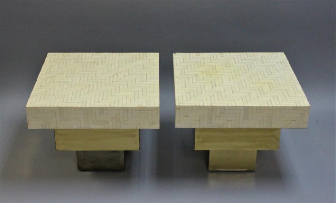 Pair Enrique Garcel Tessellated Bone End Tables