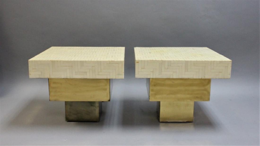 Pair Enrique Garcel Tessellated Bone End Tables - 2
