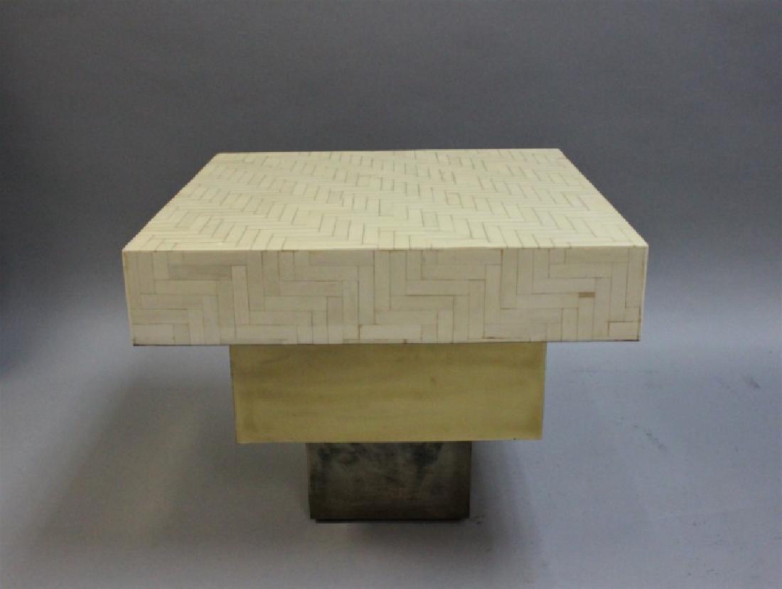 Pair Enrique Garcel Tessellated Bone End Tables - 3
