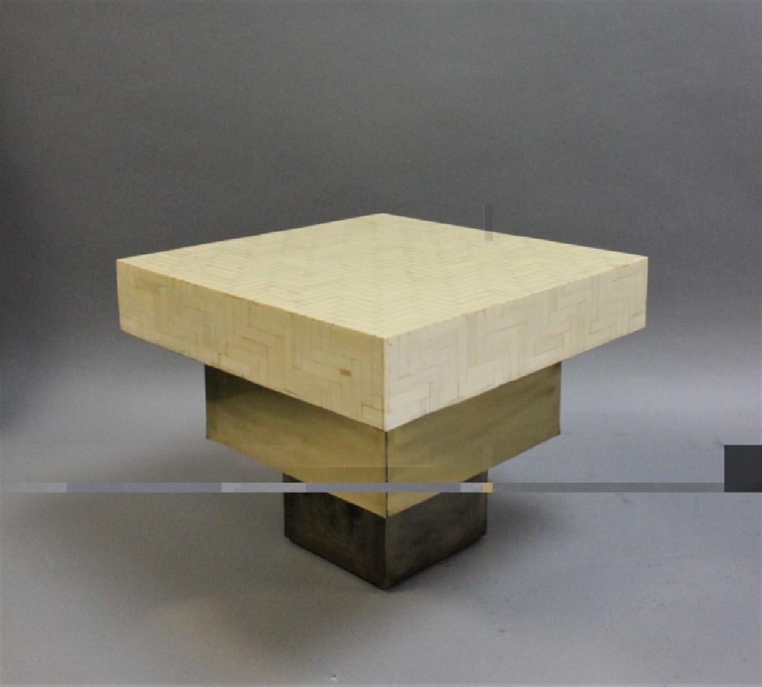 Pair Enrique Garcel Tessellated Bone End Tables - 4