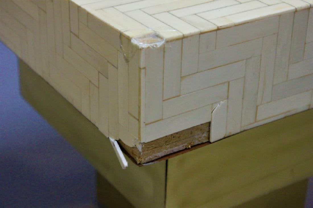 Pair Enrique Garcel Tessellated Bone End Tables - 8